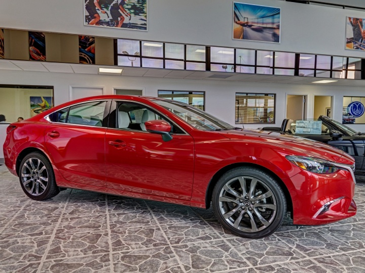 Red Mazda in Dyer showroom