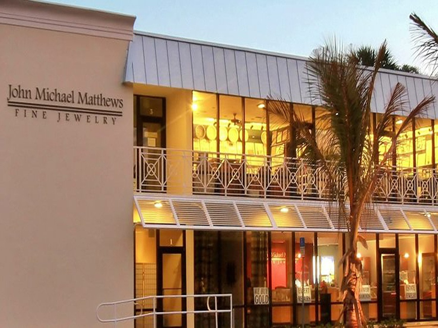 John Michael Matthews Fine Jewelry's storefront with ample parking Vero Beach FLorida