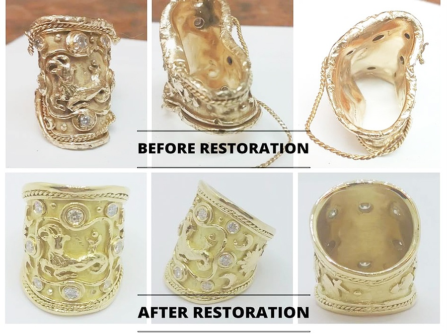 Before and After restoration of a ring that was mangled in the garbage disposal