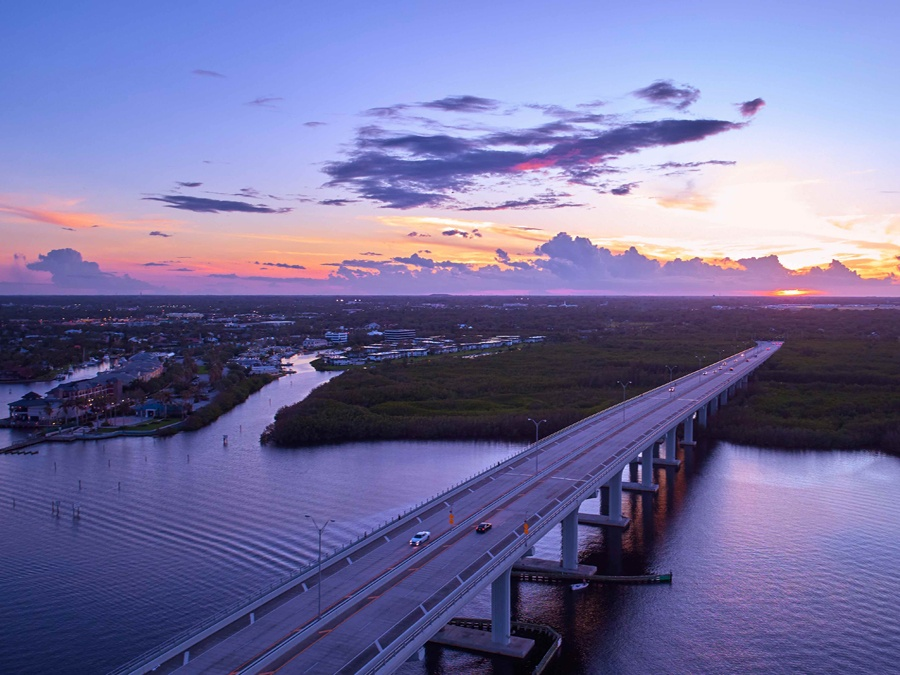 View of Vero Beach from above the Barber Bridge