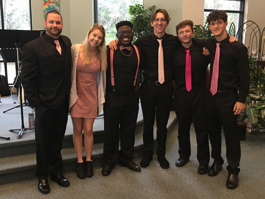 Music Director and Five Jazz students pose for group shot after concert.