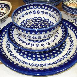 Platter, dish and bowl of Polish pottery