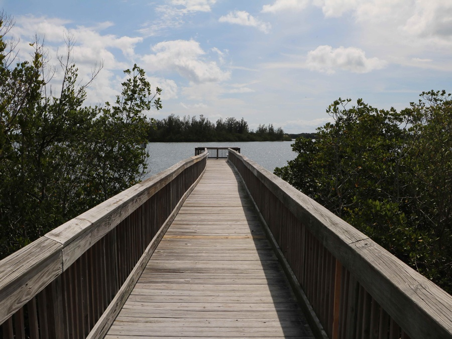 A walking path out to the lagoon