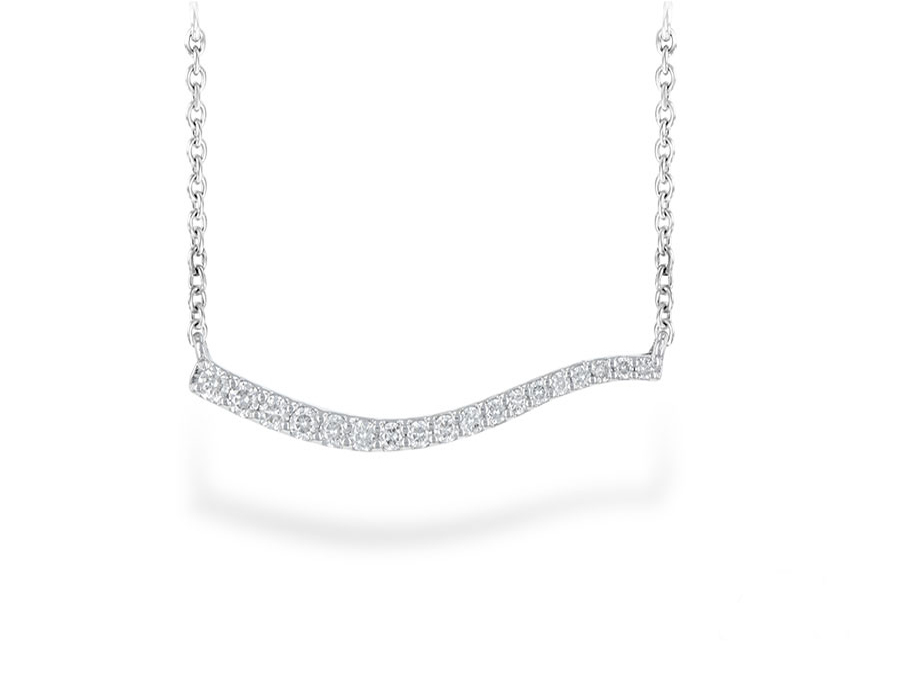 14 Karat White Gold Diamond Freeform Bar Necklace