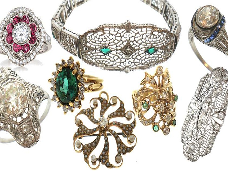Vintage jewelry containing pieces from various eras