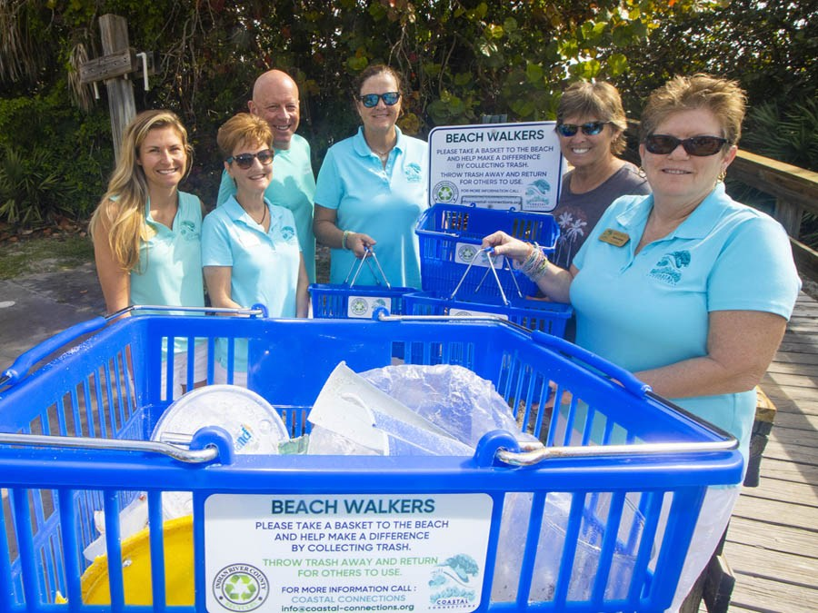 Blue beach baskets available for use at public beach parks