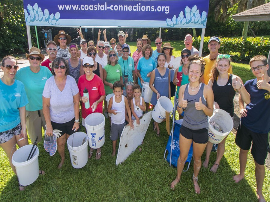 Coastal cleanup with volunteers and community participants at South Beach
