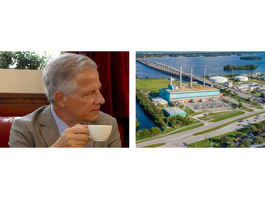 Andres Duany with coffee cup looking at power plant in vero beach, fl