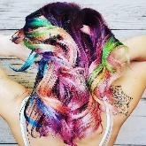 Girl with multi-colored hair