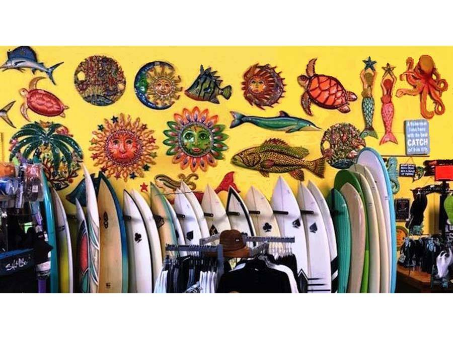 Wabasso Beach Shop view of surfboards and beach art