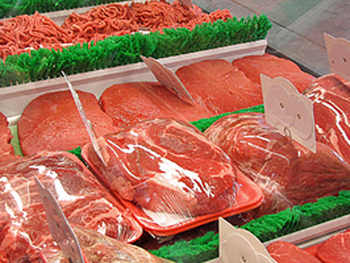 Assorted beef cuts in meat case