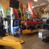 Kayaks in showroom