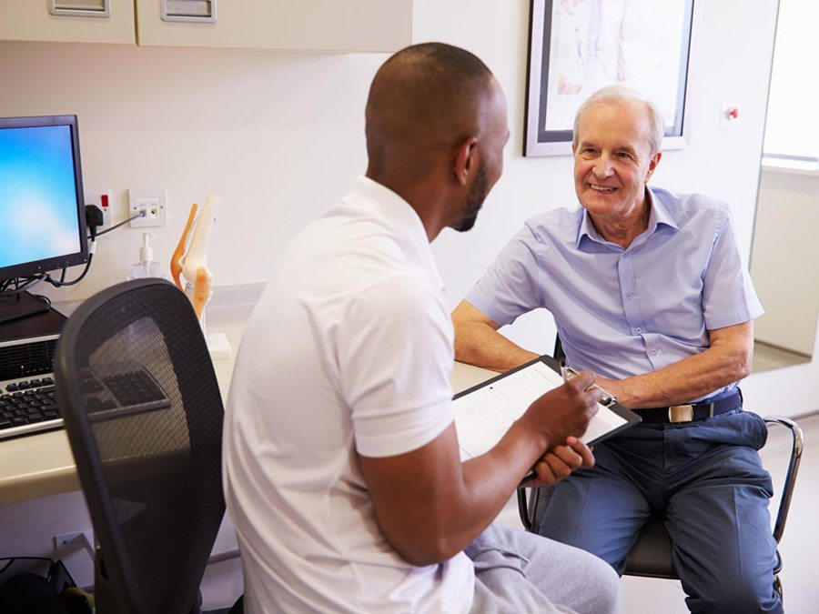 Man interviewing new patient