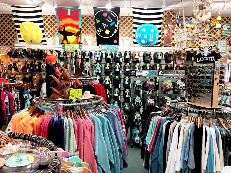 View of clothes and sun glasses in shop