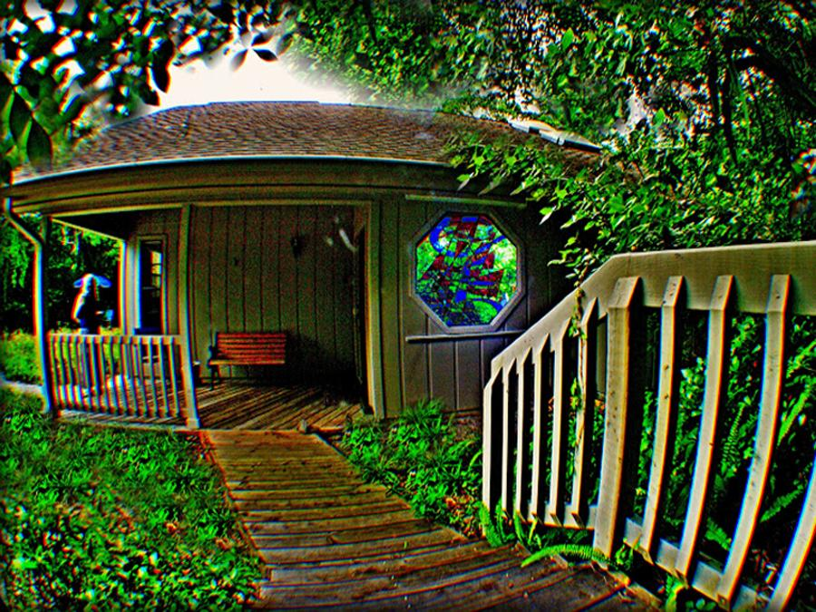 STOUTHOUSE Artist Retreat surrounded by vegetation