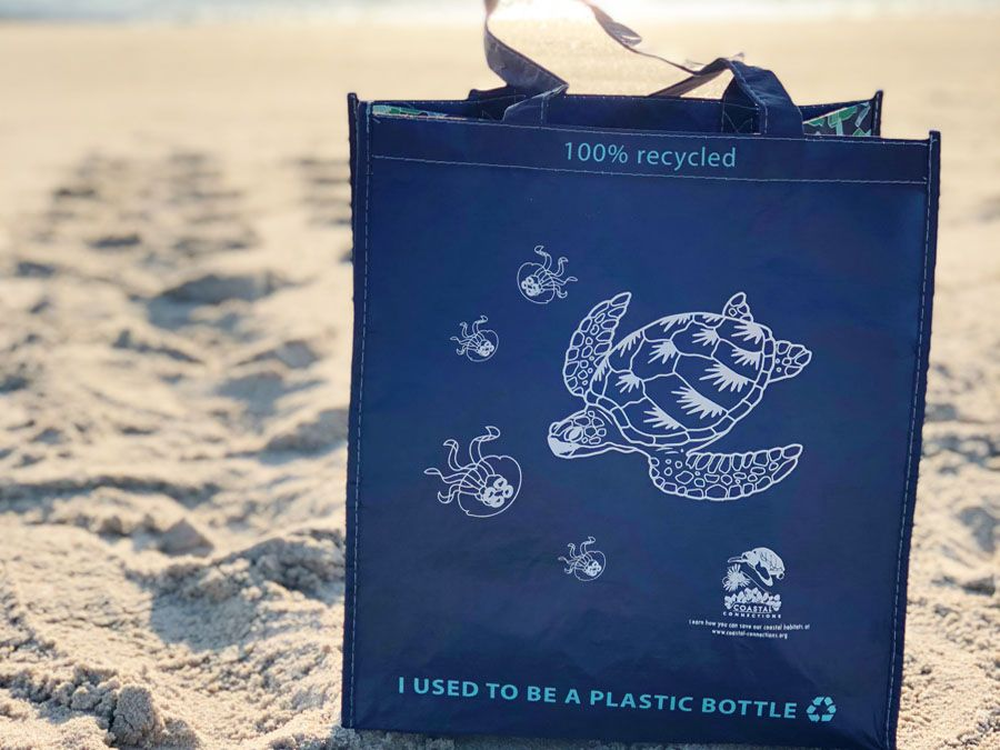 Trademark resuable bag made from recycled bottles