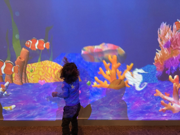Child touching ocean screen