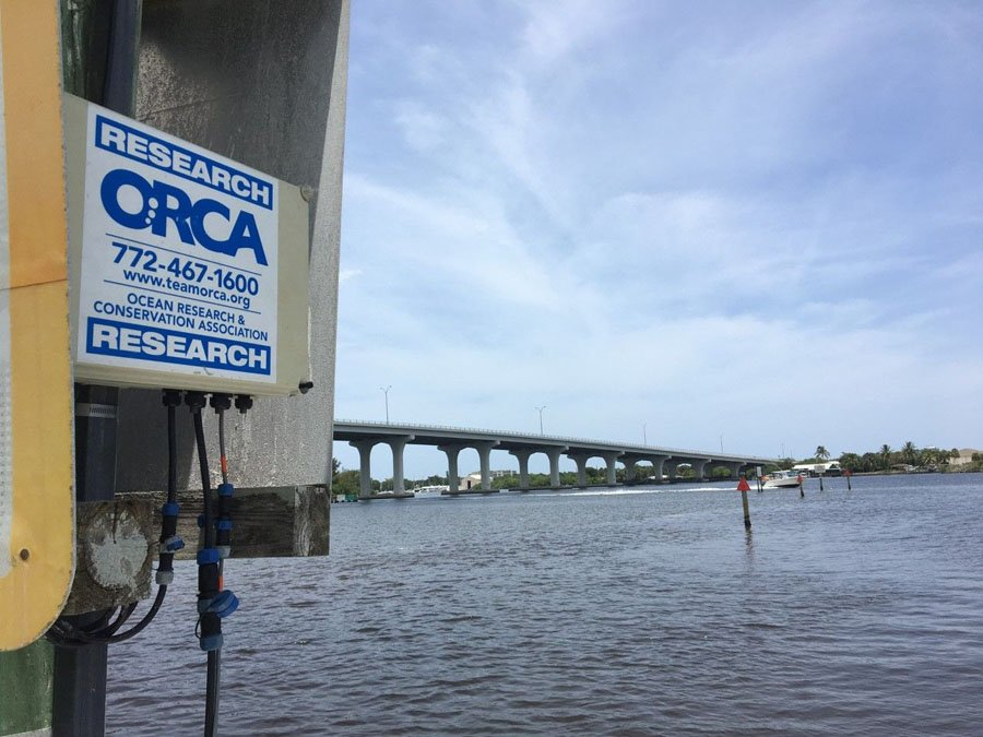 View of ORCA Research sign and phone number on a post in the Indian River Lagoon