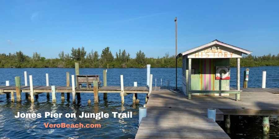 Looking west at Jones Pier on historic Jungle Trail in Vero Beach Florida