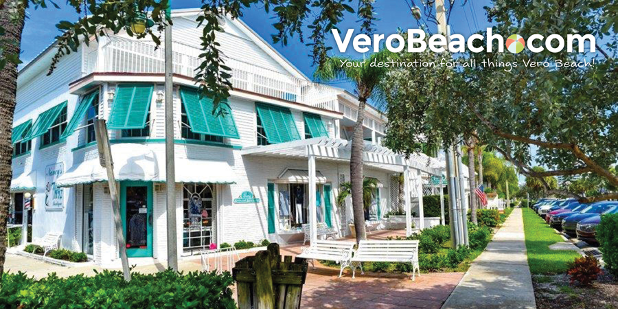 View of building with several shops on Ocean Drive in Vero Beach, Florida